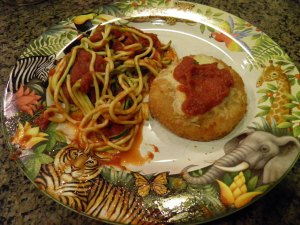 Marinara Zucchini Noodles with Gluten Free Chicken Patty