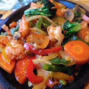 Veggie Fajitas with Shrimp added