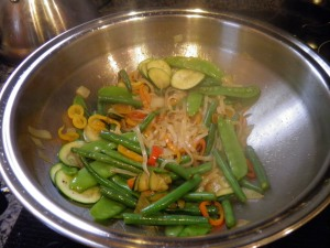 Vegetarian Stir Fry with Rice Noodles and Coconut Amino Acids