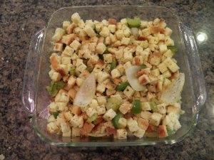 Gluten Free Thanksgiving Stuffing - before cooked