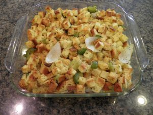 Gluten Free Thanksgiving Stuffing - after cooked